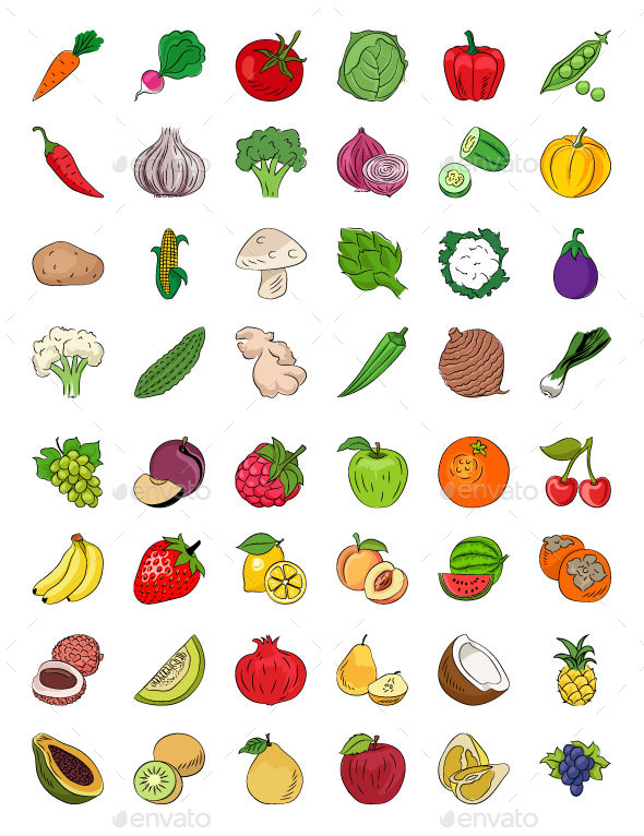 Fruits and Vegetables Sketch Icons - Food Objects