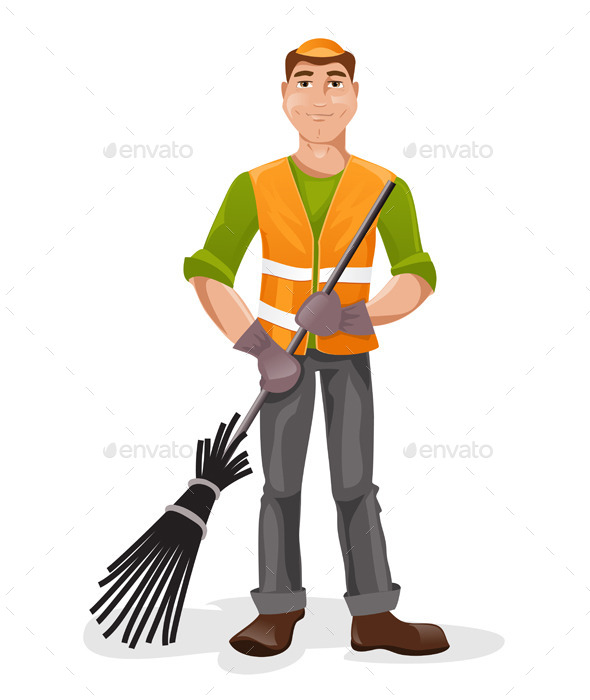 Janitor With a Broom - People Characters