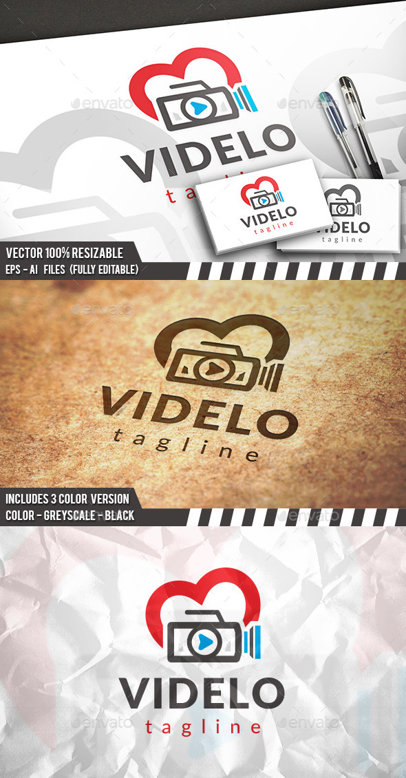 Video Love Logo - Objects Logo Templates