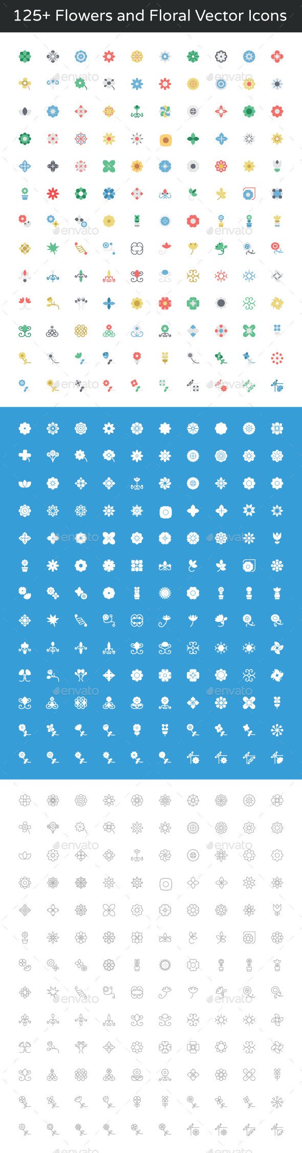 125+ Flowers and Floral Vector Icons - Icons