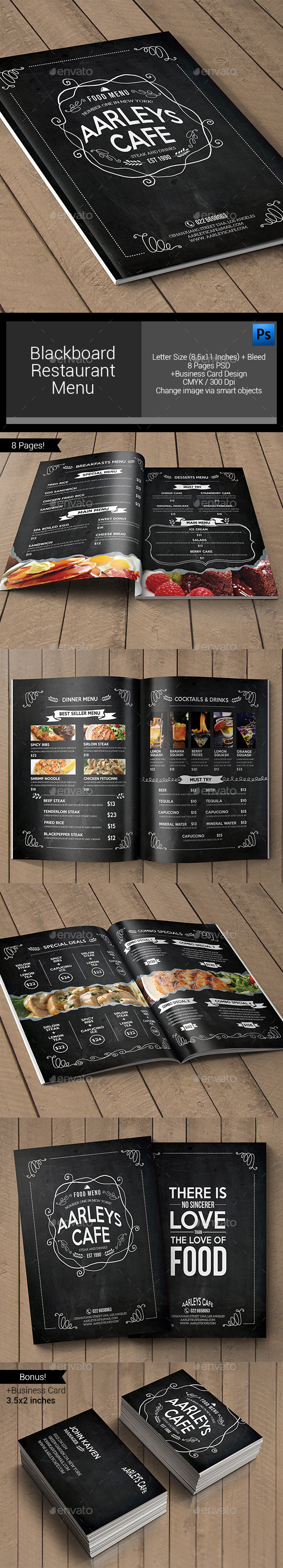 Blackboard Restaurant Menu - Food Menus Print Templates