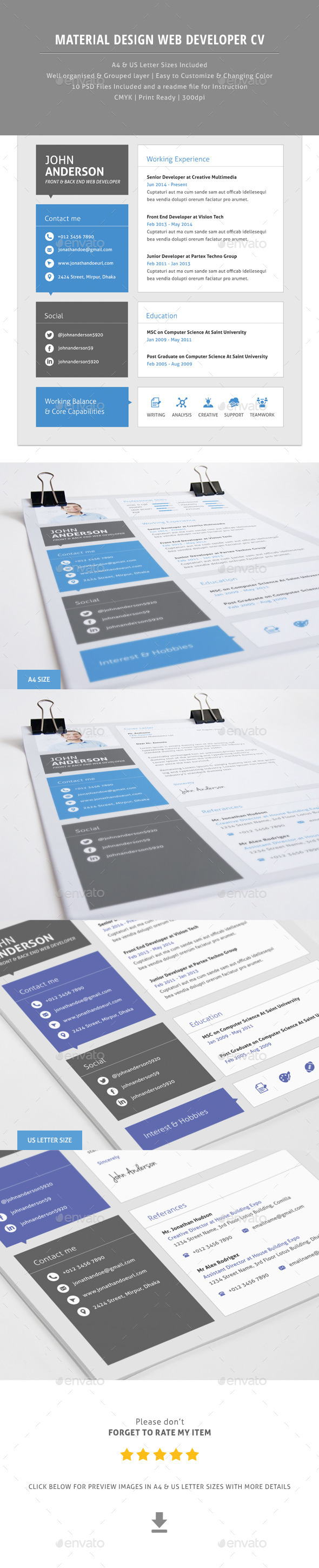 Material CV For Web Developer - Resumes Stationery