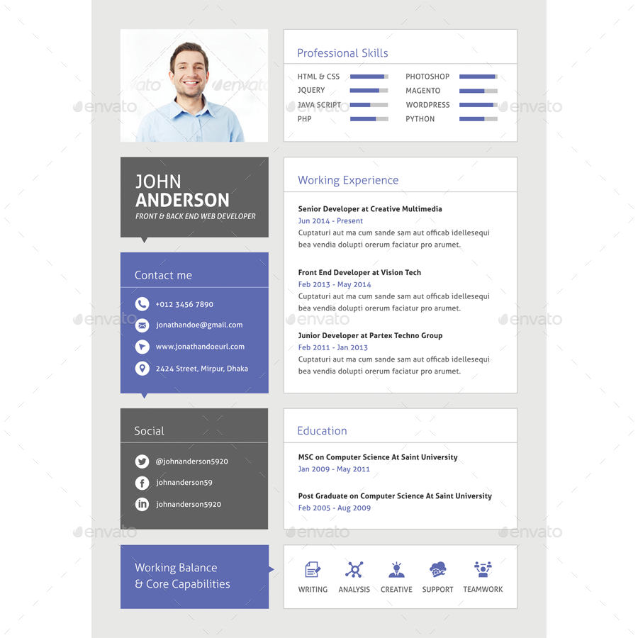 material cv for web developer by samiul75