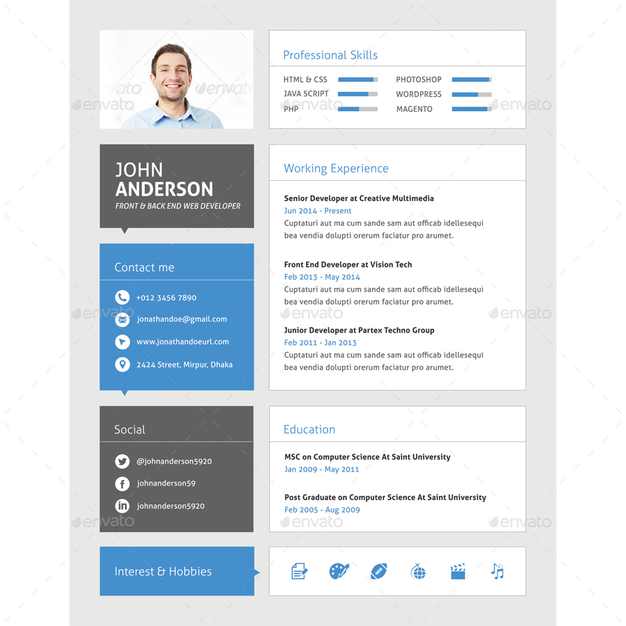 Extrem Material CV For Web Developer by samiul75 | GraphicRiver XC45