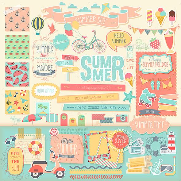 Summer Scrapbook Set.  - Travel Conceptual