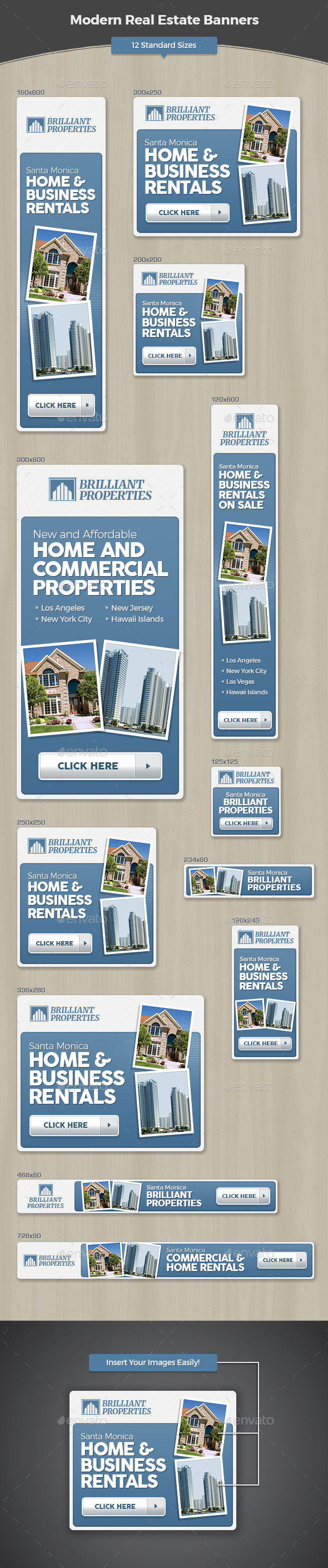 Modern Real Estate Banners - Banners & Ads Web Elements