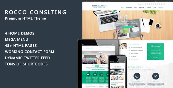 Rocco Flat HTML Template - Corporate Site Templates