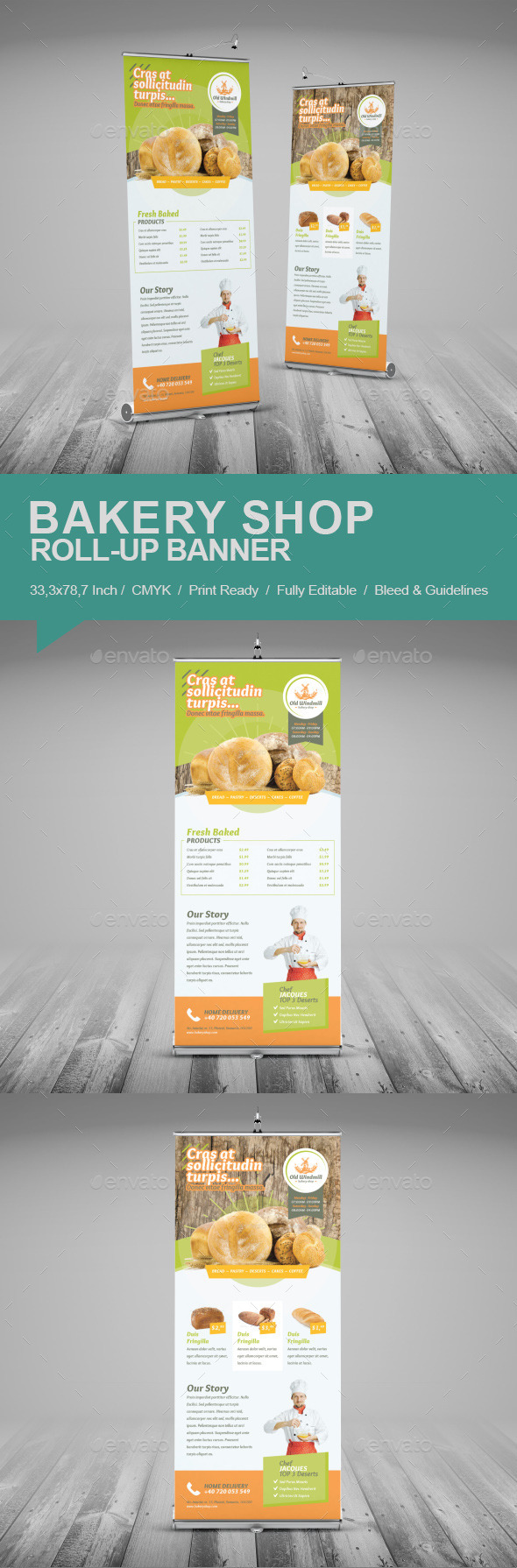 Bakery Shop Roll-Up Banner - Signage Print Templates