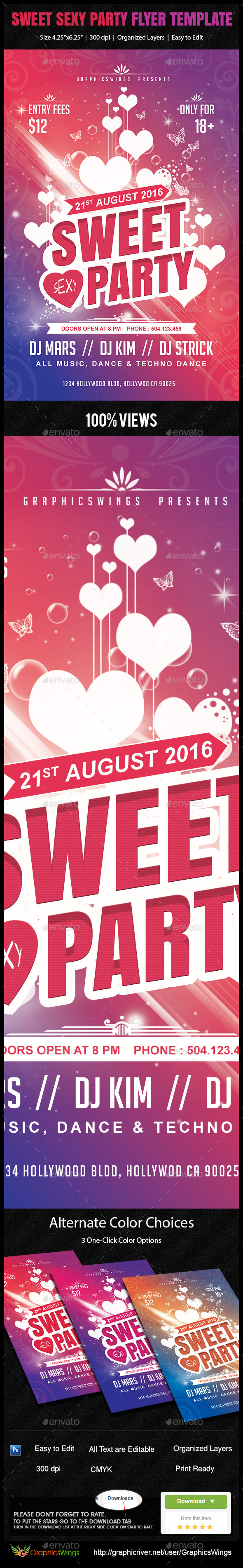 Sweet Sexy Party Flyer Template - Clubs & Parties Events