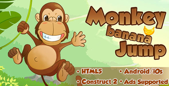 Monkey Banana Jump - HTML5 Android (CAPX) - CodeCanyon Item for Sale