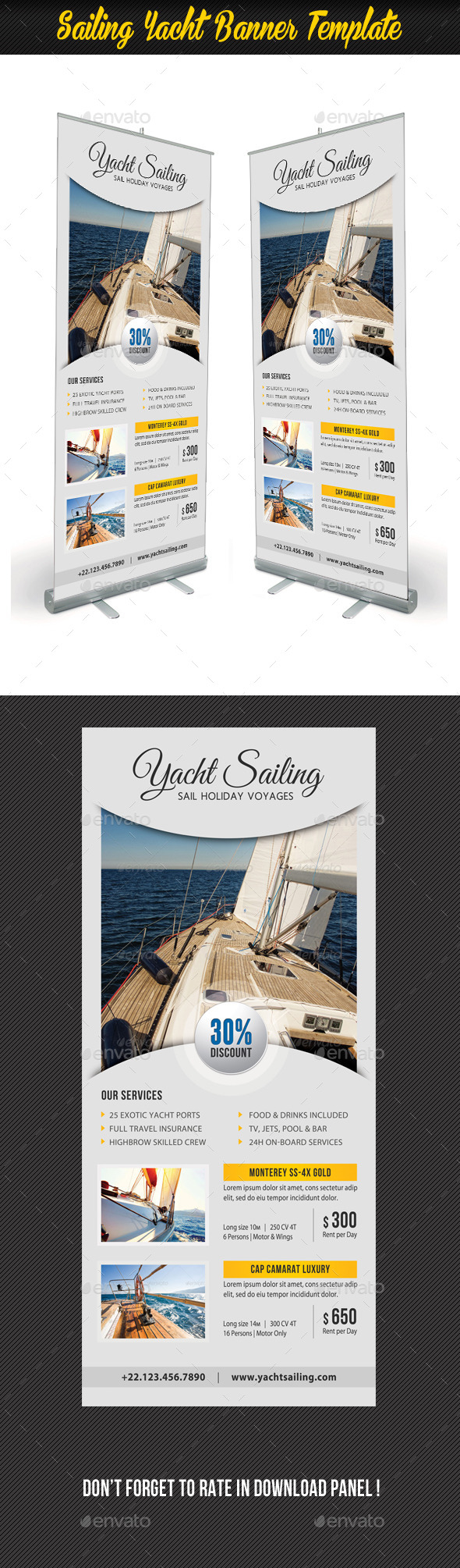 Sailing Yacht Banner Template 06 - Signage Print Templates