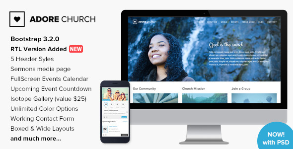 Adore Church – Responsive HTML5 Template