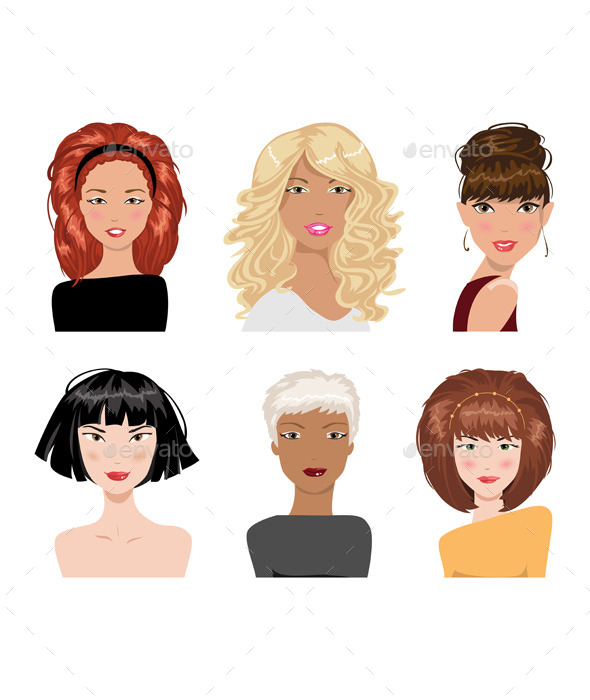 Set of Female Hair Style - People Characters