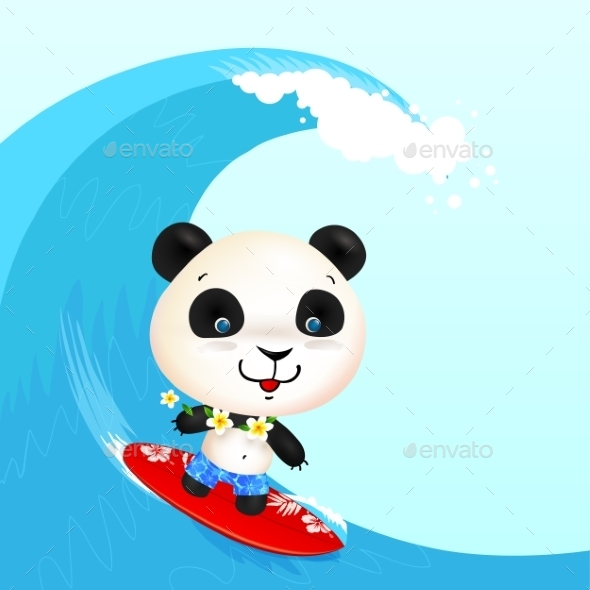 Little Cute Surfer Panda Surfing In Blowing Wave - Animals Characters