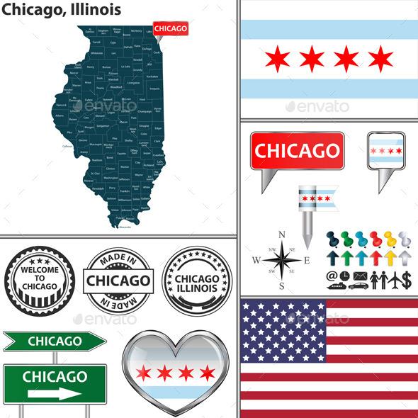 Chicago, Illinois - Travel Conceptual