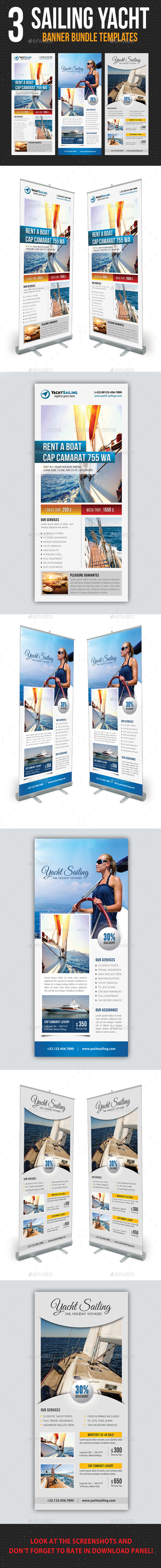 3 in 1 Sailing Yacht Banner Bundle 03 - Signage Print Templates