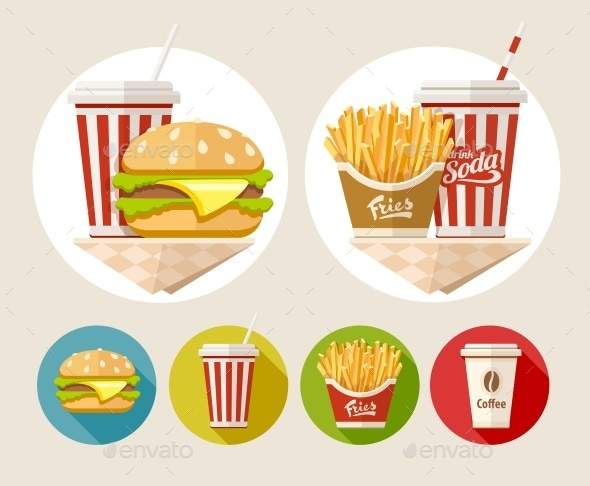 Hamburger, French Fries and Soda Drink - Food Objects
