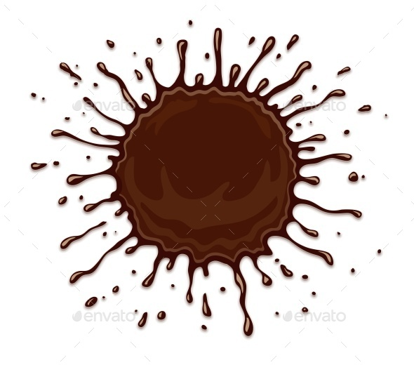 Round Chocolate Splash with Drops - Decorative Symbols Decorative