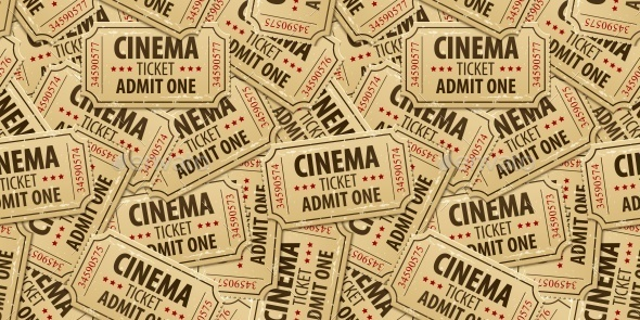 Seamless Pattern Background of Cinema Tickets - Backgrounds Decorative