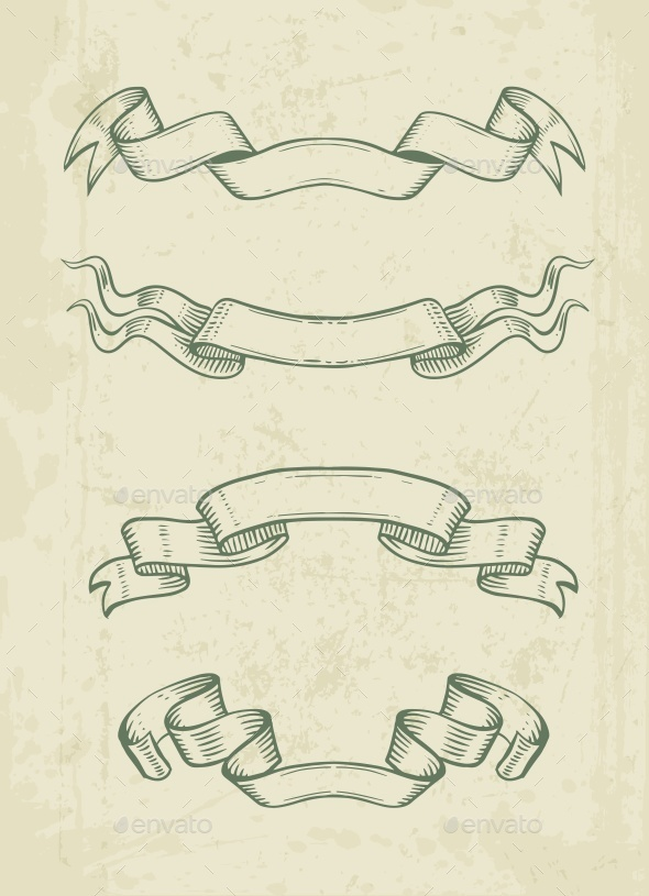 Hand Drawn Vintage Ribbons Design Elements - Flourishes / Swirls Decorative
