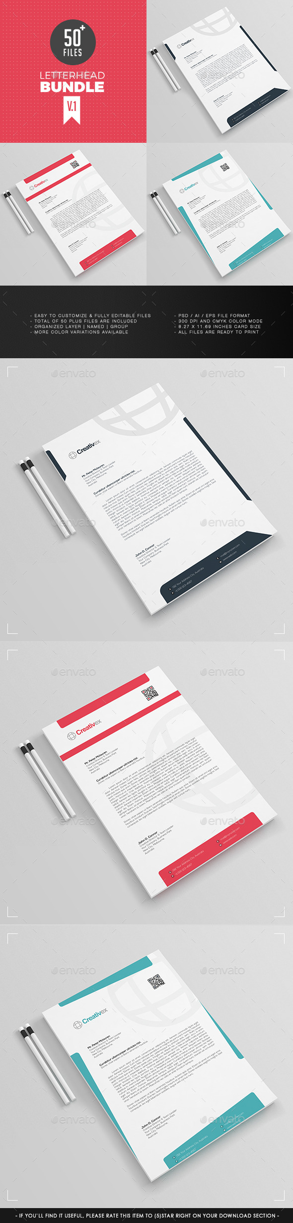 3 in 1 - A4 Letterhead Bundle V.1 - Stationery Print Templates