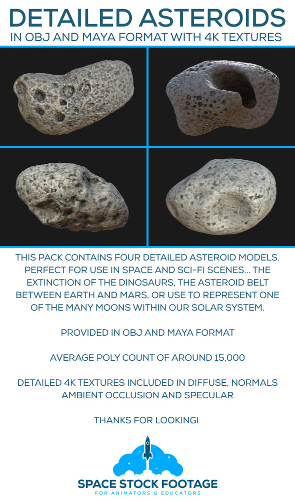 Detailed Asteroids - 3DOcean Item for Sale