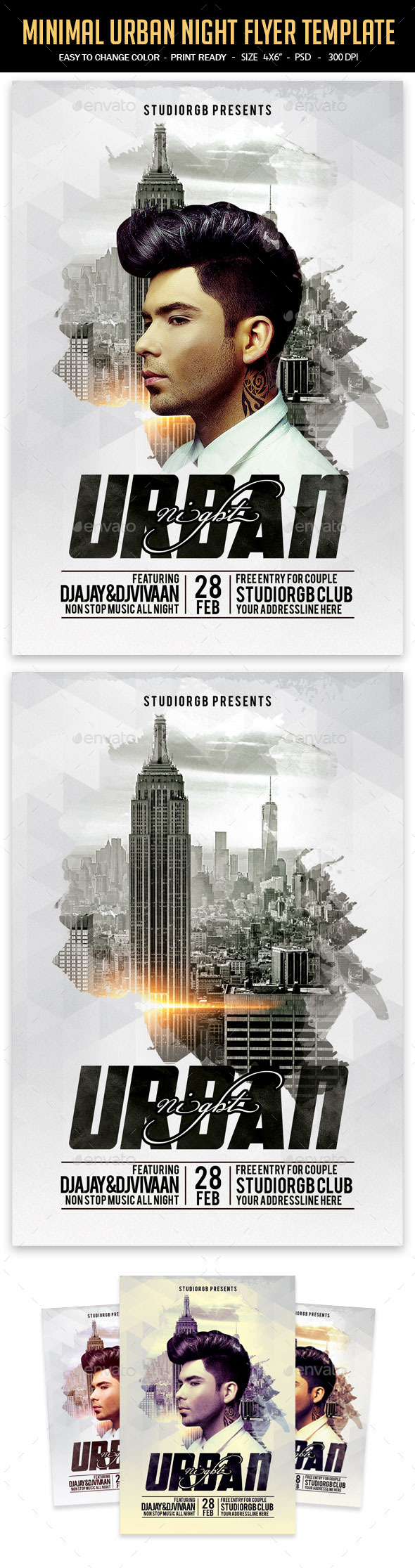 Minimal Urban Night Flyer Template - Clubs & Parties Events