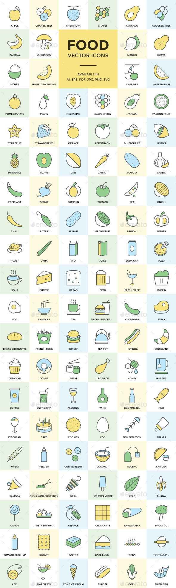 100+ Food Vector Icons - Food Objects
