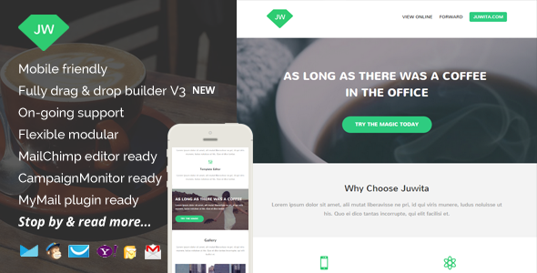 Juwita, Modern Email Template with Builder Access