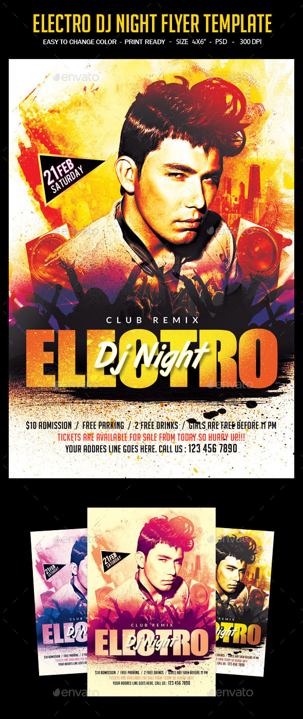 Electro DJ Night Flyer Template - Clubs & Parties Events
