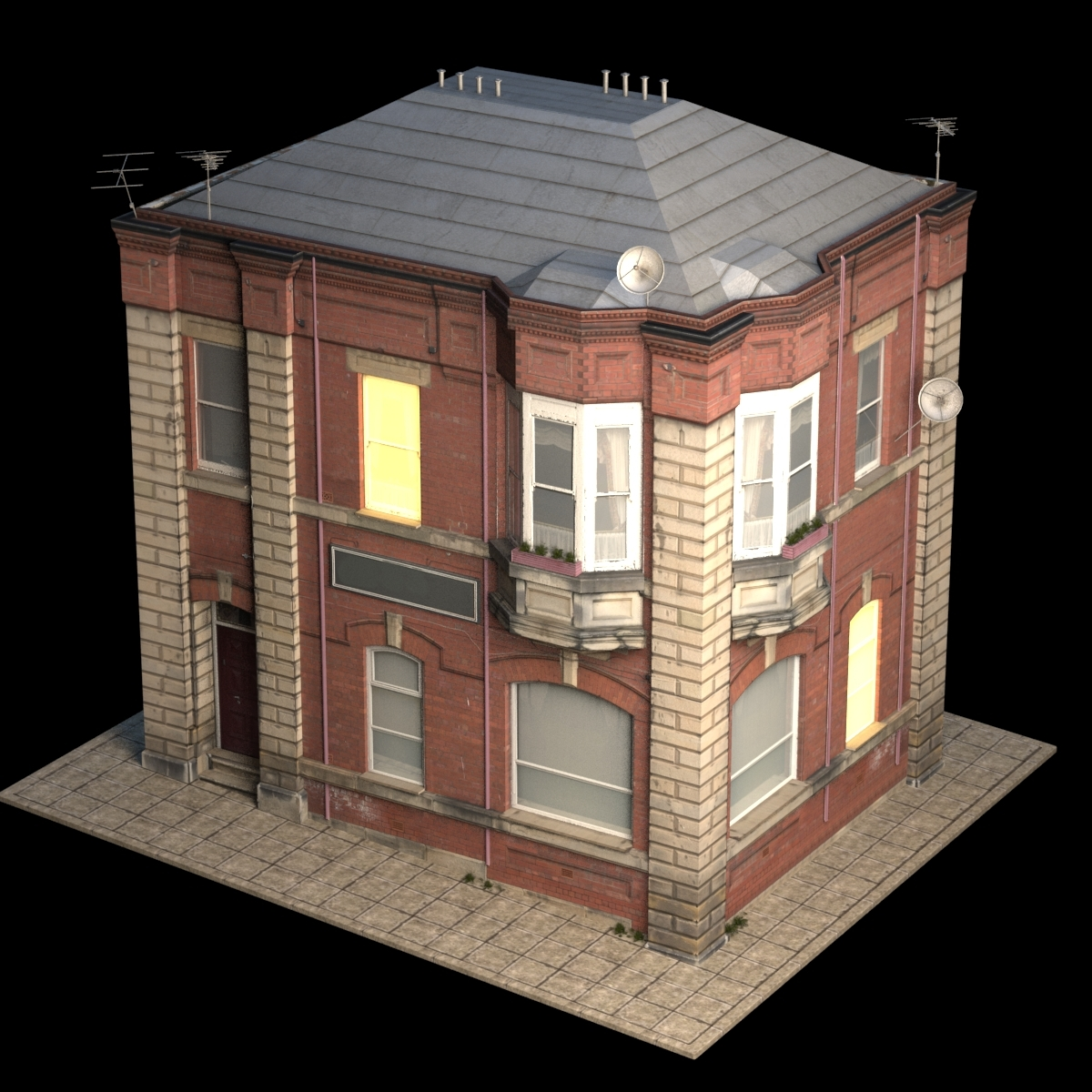 Beautiful Apartment House Low Poly 3d Model #152