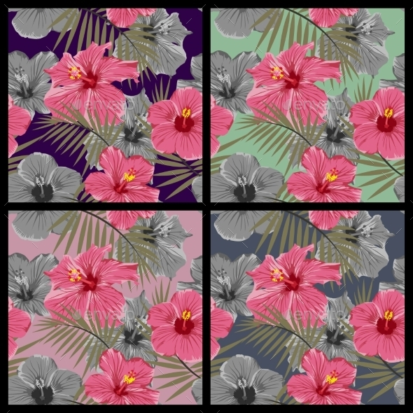 Set of Tropical Floral Seamless Patterns  - Patterns Decorative