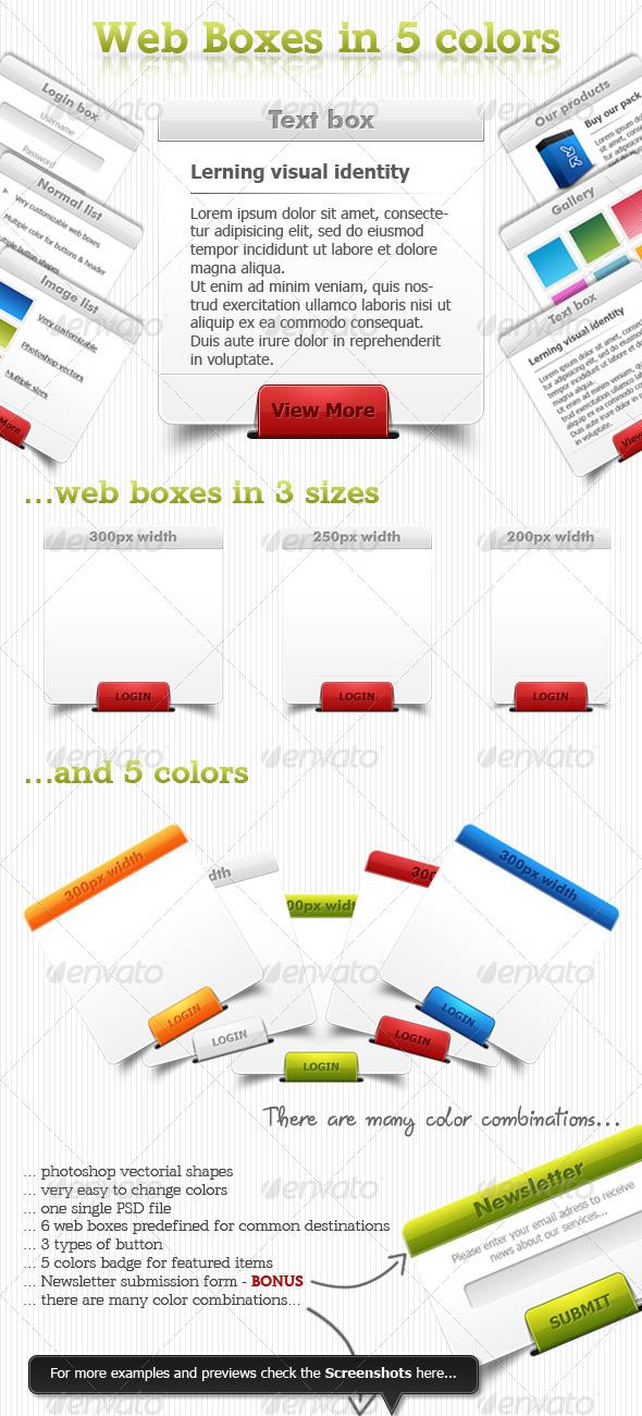 Web boxes in 5 colors - Miscellaneous Web Elements