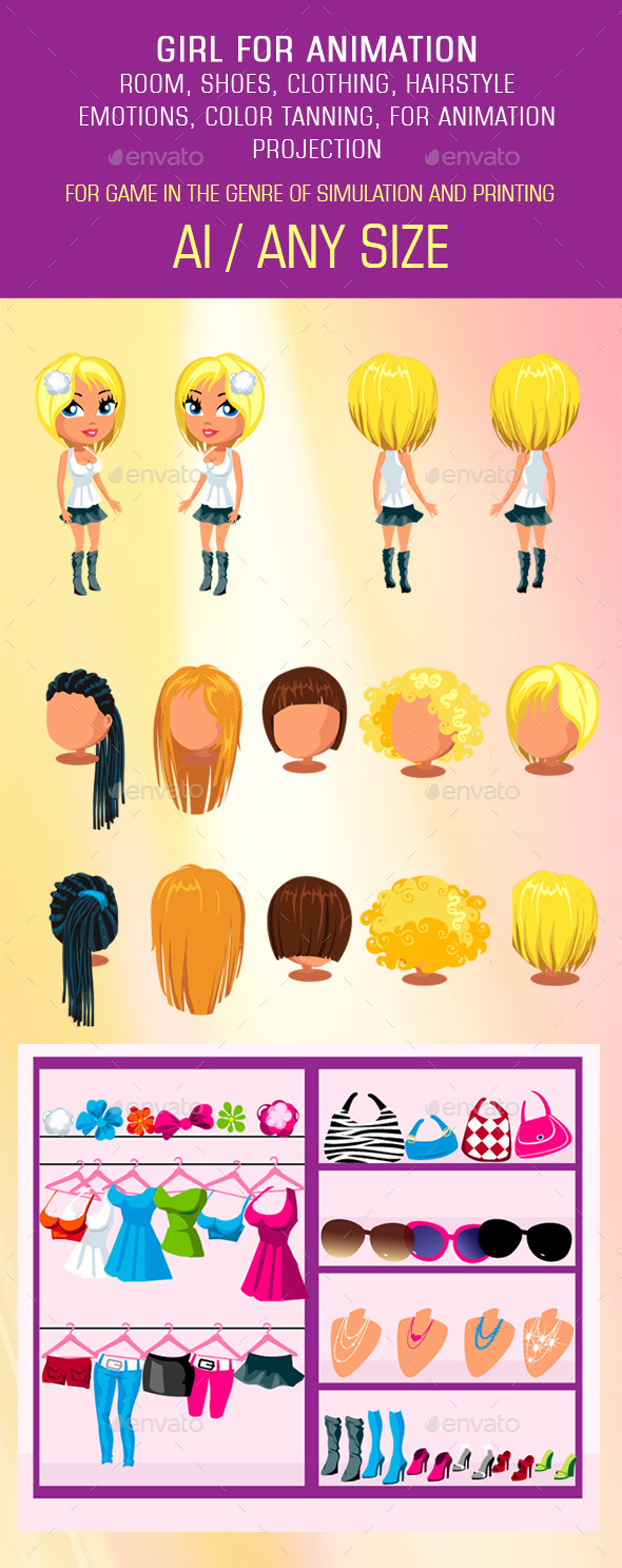 Girl Mix and Match Character Pack - People Characters