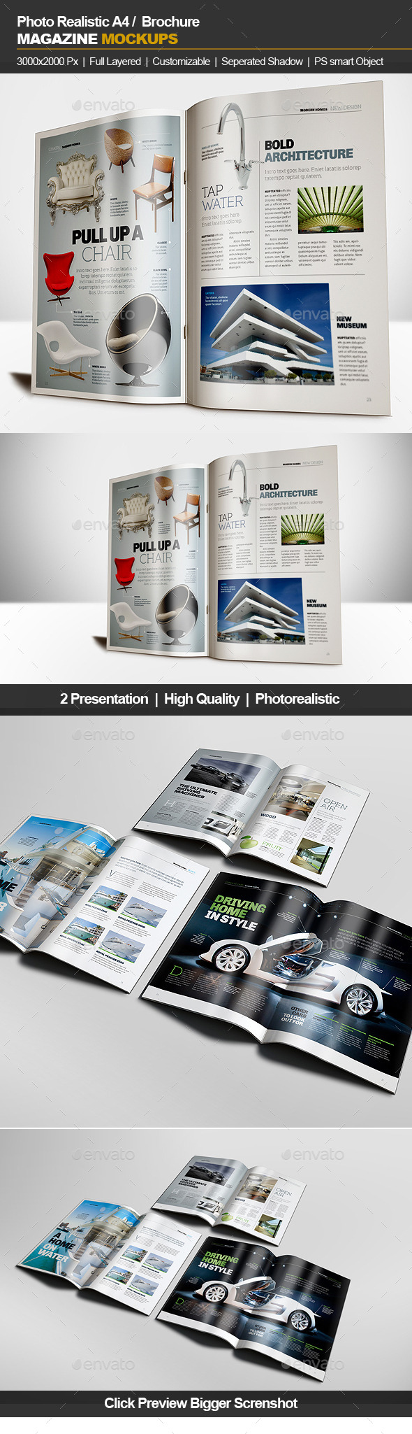 A4 Brochure Magazine Mockup - Brochures Print