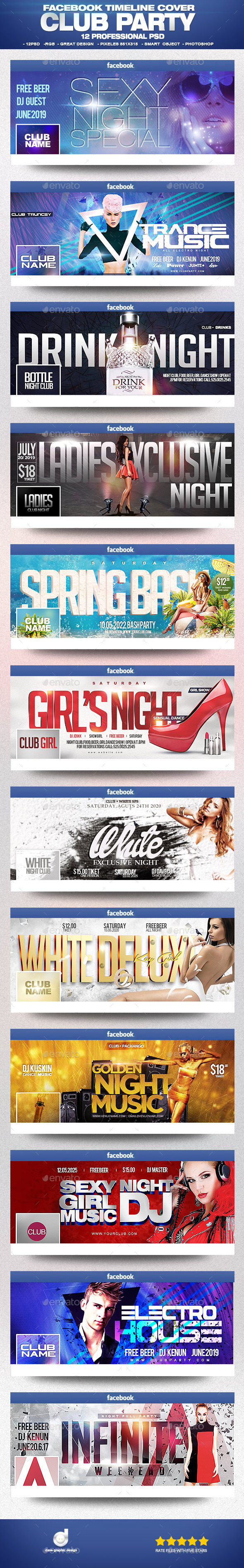 Facebook Timeline Cover Package Club Party Vol.1 - Facebook Timeline Covers Social Media