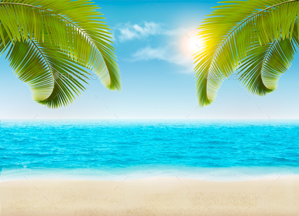 Vacation Background Beach With Palm Trees - Travel Conceptual