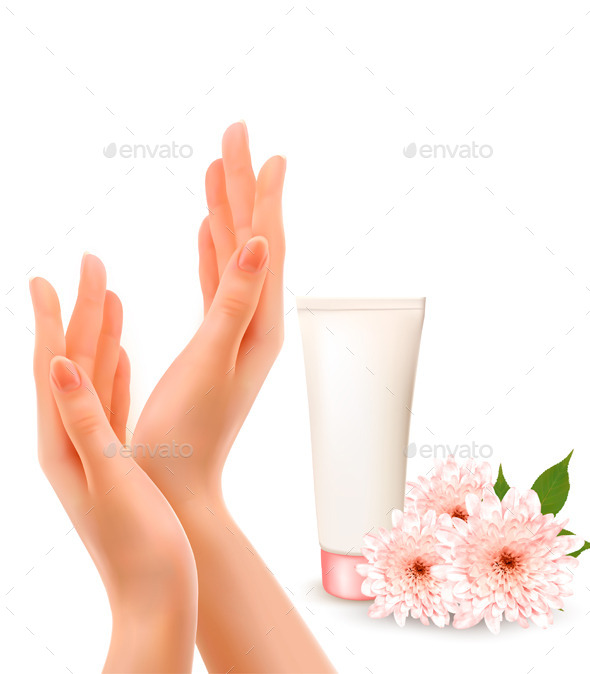 Female Hands With A Cream And Flowers  - Commercial / Shopping Conceptual
