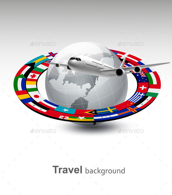 Travel Background Globe With A Plane And A Strip - Travel Conceptual