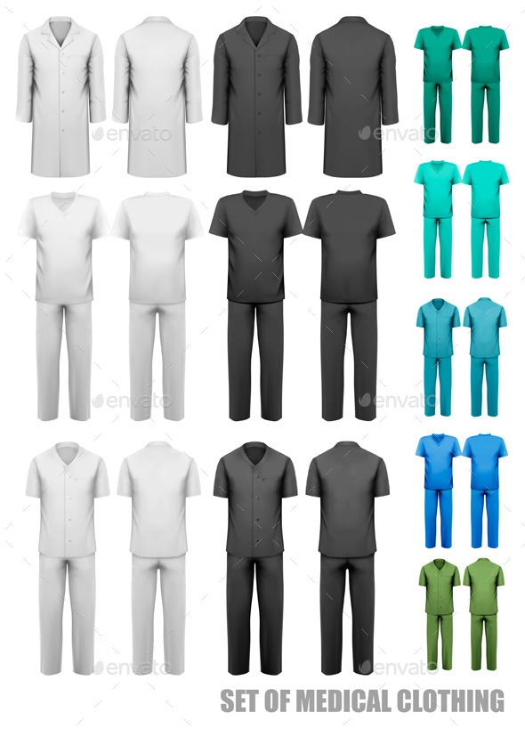 Set Of Medical Clothes Design Template Vector - Health/Medicine Conceptual