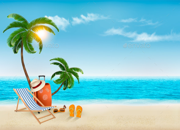 Travel Background With Beach Chair And Palms - Travel Conceptual