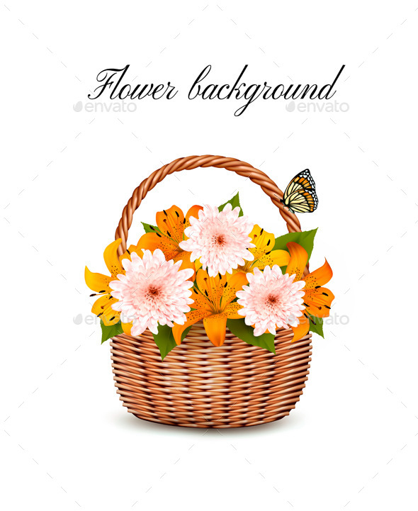 Summer Background Basket Full Of Flowers - Flowers & Plants Nature