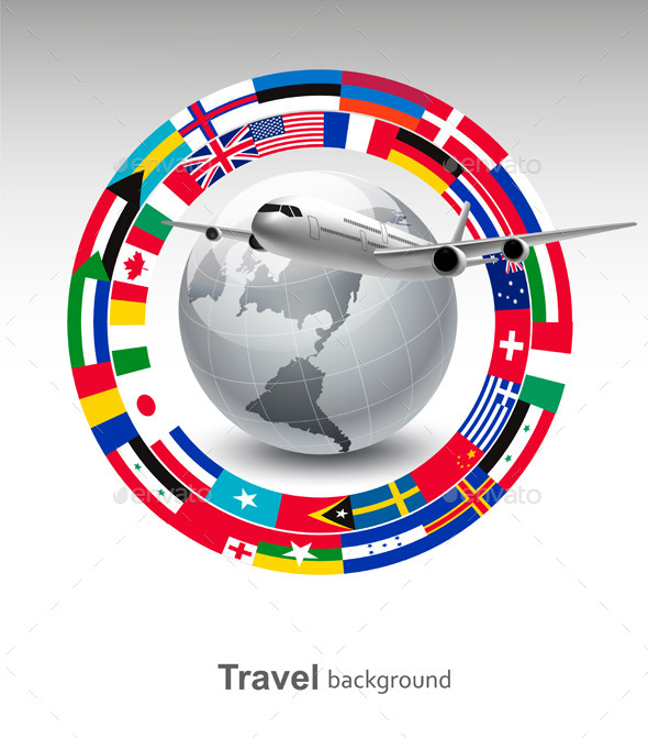 Travel Background Globe With A Plane  - Travel Conceptual