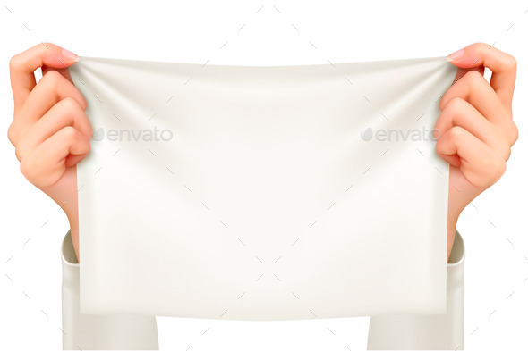 Hands Holding A Piece Of Cloth Banner Vector - Backgrounds Decorative