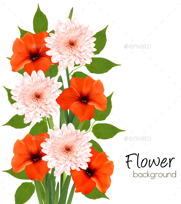 Flower Summer Background Vector - Flowers & Plants Nature