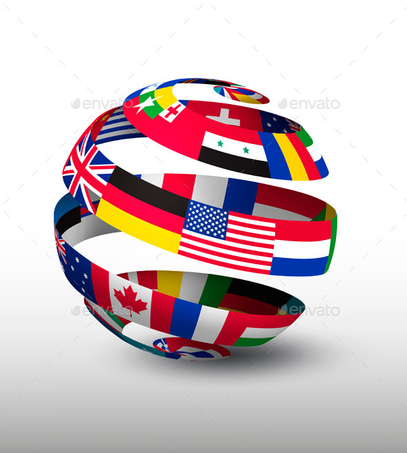 Globe Made Of A Strip Of Flags Vector - Business Conceptual