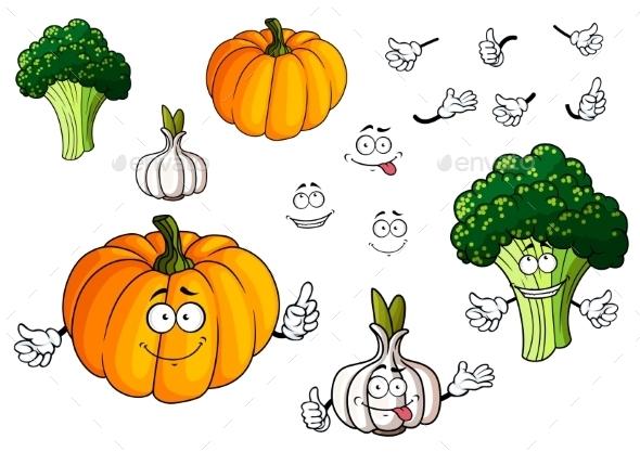 Cartoon Pumpkin, Garlic And Broccoli Vegetables - Food Objects