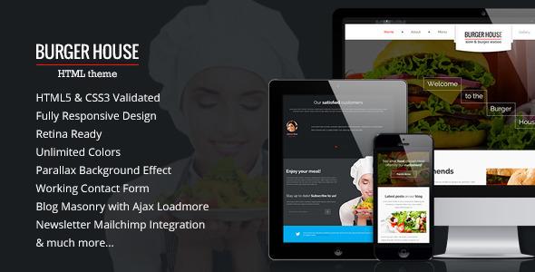 Burger House — Restaurant HTML Template - Restaurants & Cafes Entertainment