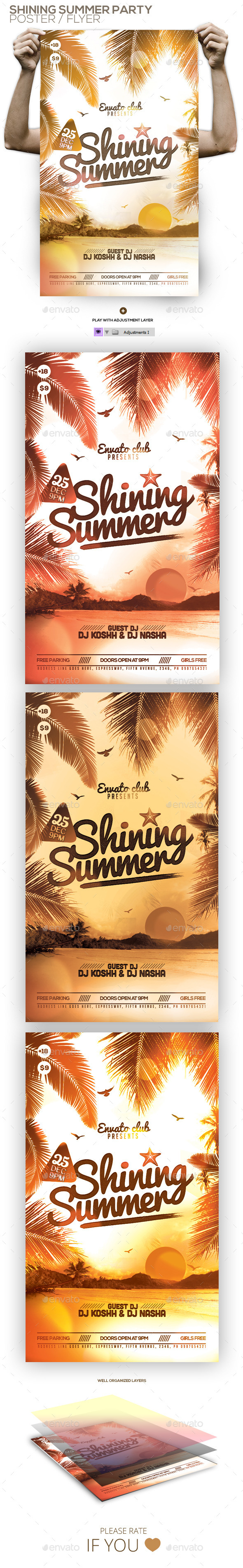 Shining Summer Party Flyer - Clubs & Parties Events