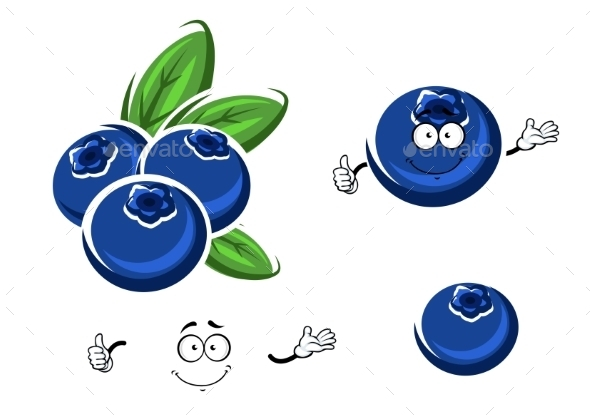 Cartoon Fresh Blueberry Fruits On White - Food Objects